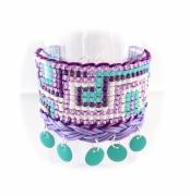 bijoux abstrait manchette mauve vert perle : Bracelet manchette violet mauve bleu vert brésilien friendship