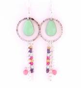 bijoux abstrait oreille goutte long pastel : Longues boucles d'oreille goutte vert mauve rose argent Chi