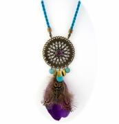 bijoux abstrait collier navajo plume violet : Collier sautoir plume violet vert bronze bohème navajo