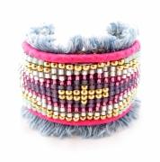bijoux abstrait bracelet manchette rose jean : Bracelet manchette brésilien friendship jean bleu et rose