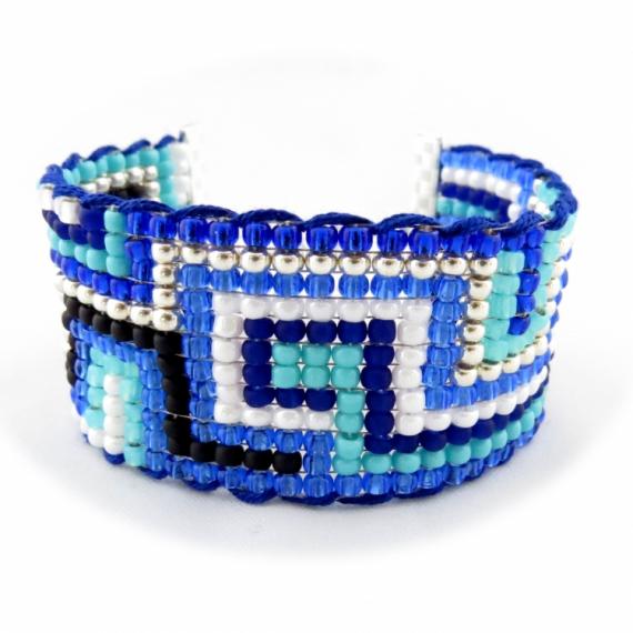 BIJOUX bracelet perle bleu brésilien Architecture  - Bracelet manchette brésilien friendship FRAMA bleu turquoise cob