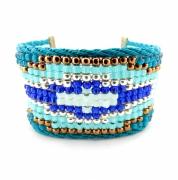 bijoux abstrait bracelet navajo friendship bleu : Bracelet manchette HAPPO bleu cobalt vert bronze ethnique navajo