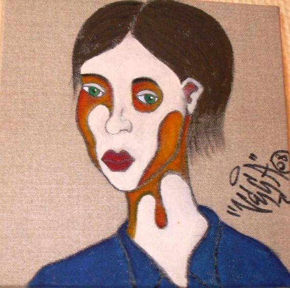 TABLEAU PEINTURE PORTRAIT FEMME COULEURS Personnages Acrylique  - Femme 1