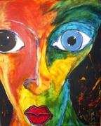 tableau personnages portrait oeil regard colore : Suspect!
