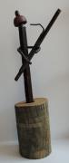 sculpture personnages bassoniste soudure metal statue : bassoniste