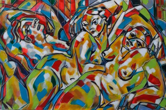 TABLEAU PEINTURE Sam KEUSSEYAN de Marseille Personnages Acrylique  - Trois femmes dans même bonheur
