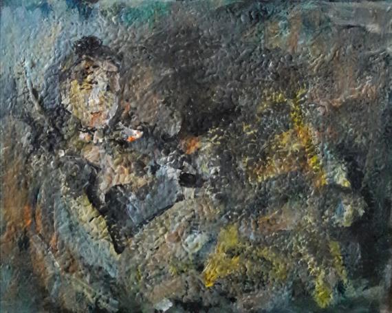 TABLEAU PEINTURE Sam KEUSSEYAN de Marseille Personnages Acrylique  - étude