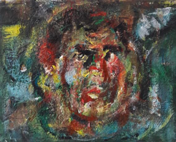 TABLEAU PEINTURE Sam KEUSSEYAN de Marseille Personnages Acrylique  - portrait