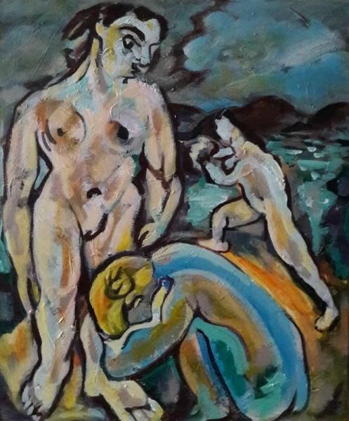 """TABLEAU PEINTURE Sam KEUSSEYAN b 6 Sam Sam KEUSSEYAN Personnages Acrylique  - """" Étude d'après Matisse"""
