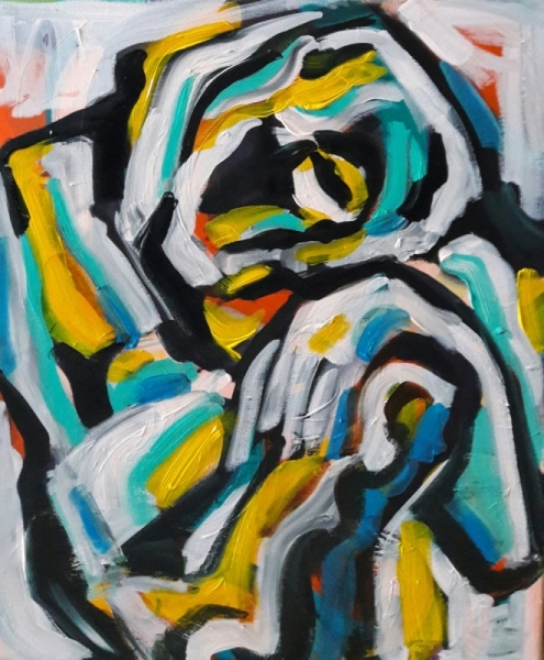 TABLEAU PEINTURE Sam Sam Sam Bh Personnages Acrylique  - Cubisme