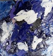 tableau scene de genre bleus sable fleurs : H119 bleus