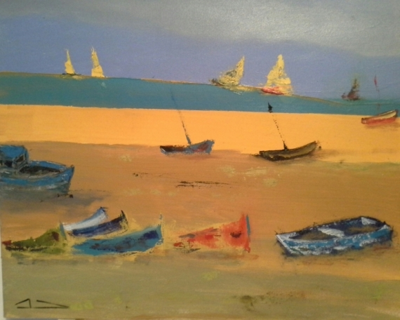 TABLEAU PEINTURE bateaux plage sable mer Marine  - 163 bord de mer