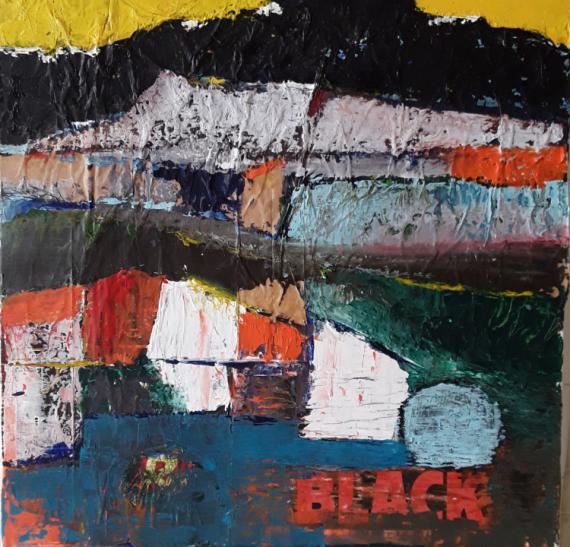 TABLEAU PEINTURE Abstrait paysage maison Paysages  - Black