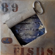 tableau nature morte clef sardine inscription decoupage : FISHS  89