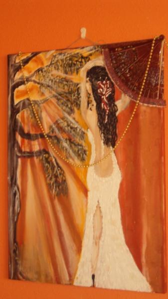 TABLEAU PEINTURE femme soleil Acrylique  - contre jour
