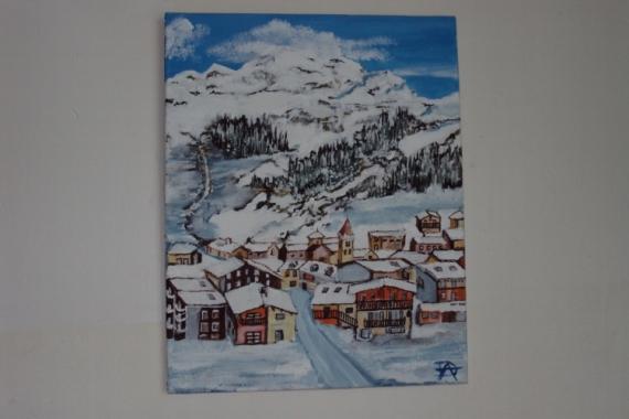 TABLEAU PEINTURE  - belle de neige