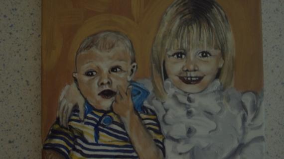 TABLEAU PEINTURE portraits enfants Personnages Acrylique  - mon frère et moi