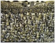 tableau personnages marche ntota afrique congo : Jour de marché à Moulenda