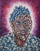 tableau abstrait ntota artiste peintr ntota ecole de peint peinture africaine : La femme heureuse