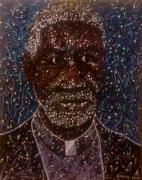 tableau personnages congo brazzaville pointenoire artistes peintres afrique : Confession avec l'abbé Mayela