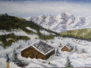 tableau paysages neige montagne chalets : Neige en montagne
