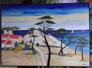 tableau paysages village ocean pins sable : Village vacance la Palmyre  Charente Maritime