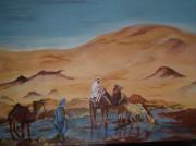 tableau paysages personnages du deser sable chameaux : Désert du Maroc