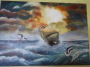 tableau marine mer bateau orage : Tempete en Mer