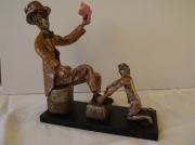 sculpture scene de genre activitee rue autrefois : Le cireur de souliers