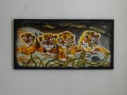 tableau animaux tigres tigrons grotte afrique : Fraterie de tigrons à l'abri dans une grotte
