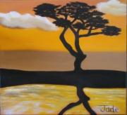 tableau paysages arbre afrique solitaire paysage : Le solitaire