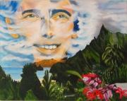 tableau scene de genre brel marquises fleurs chanteur : Hommage à Jacques Brel