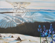 tableau paysages combrailles patriarche fleurs hauts de chaume : Le patriarche veille sur la Jasserie des Hauts de Chaume