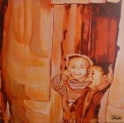 tableau personnages voyage enfants tibet jeux : Jeux d'enfants tibétains