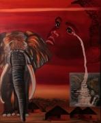 tableau scene de genre afrique enfant elephant cascade : Emotion