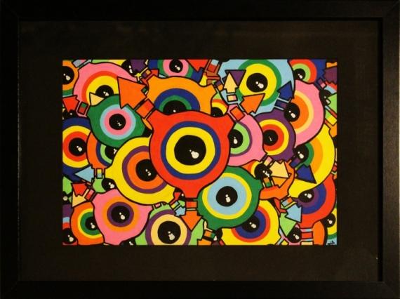 TABLEAU PEINTURE œillet posca abstrait œil Abstrait Acrylique  - Œillets