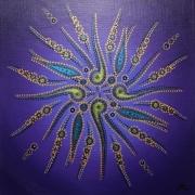 tableau abstrait acrylique mouvement formes violettes : Mouvement de formes violettes