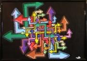 tableau abstrait direction fleche art moderne : Direction
