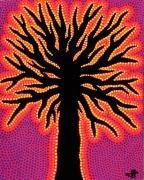 tableau abstrait arbre pointillisme posca abstrait : Arbre Pourpre