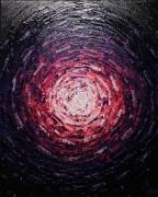 tableau abstrait peinture couteau acrylique contemporaine : Éclat de lueur rose violette