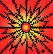 tableau fleurs fleur abstrait posca rouge : Fleur rouge
