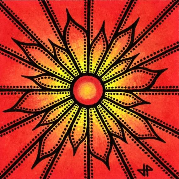 TABLEAU PEINTURE fleur abstrait posca rouge Fleurs Acrylique  - Fleur rouge
