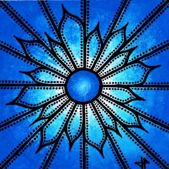 TABLEAU PEINTURE fleur posca abstrait bleu Fleurs Acrylique  - Fleur bleu