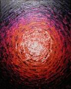 tableau abstrait peinture couteau acrylique contemporaine : Éclat de lueur orange rose iridescente