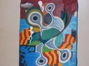 tableau abstrait personnage femme mer paysage : évasion