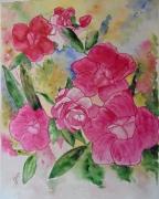 tableau fleurs fleurs camelias dominante rose fondu de vert : CAMELIAS