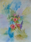 tableau fleurs fleurs roses fond multicolore style moderne : HARMONIE