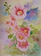 tableau fleurs fleurs roses tremieres dominante rose fond blanc : ROSES TREMIERES