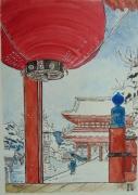 tableau paysages japon paysage temple neige : LANTERNE JAPONAISE