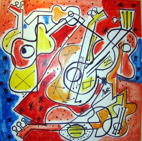 TABLEAU PEINTURE violon guitarre abstrait Abstrait Acrylique  - VIOLÃO